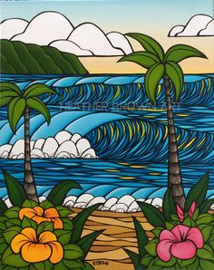surf beach art by Heather brown art Graffiti Art, Heather Brown Art, Canvas Wall Art, Wall Art Prints, Hawaiian Art, Surfboard Art, Tropical Art, Hippie Art, Surf Art