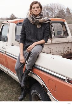 Knit sweater nice scarf in dirt with a truck. Mm - Merry Danamere -