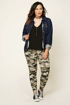 47b55f70f0b058 Plus Size Camo Print Leggings | Forever 21 PLUS - 2000195740 Blue Fashion,  Diva Fashion