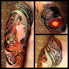 Fantastic Art Nouveau piece by Jeff Gogue inspired by Alphonse Mucha! Art Nouveau Tattoo, Tatuaje Art Nouveau, Jeff Gogue, Tattoo Main, Off The Map Tattoo, Tattoo You, Tattoo Bird, Alphonse Mucha, Body Art Tattoos