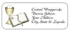 Personalized First Communion, Baptism, Confirmation Return Address Mailing Labels - Gold Chalice and Bible, Host. Cute, inexpensive address labels for First Holy Communion invitations.