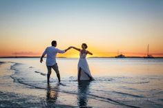 Fraser Island sunsets make for gorgeous wedding photos- just ask Tara and Mark who recently captured these stunning photos of their wedding at Kingfisher Bay Resort.  #fraserisland #weddings #destinationwedding #beach