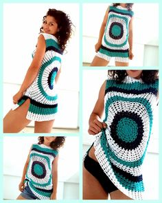 I love to make summer clothes in crochet so here I am with another pattern with my new Enjoy Summer Top. Pentru postarea in limba romana, click aici You can purchase the easy printable pdf version of this pattern here. or You can purchase it with a off Crochet Bodycon Dresses, Black Crochet Dress, Crochet Tunic, Crochet Clothes, Knit Crochet, Crochet Sweaters, Diy Clothes, Crochet Summer Tops, Crochet Woman