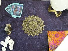 Mehndi Serenity Mandala Embroidered Reversible Cotton Batik Tarot Cloth, Spread Cloth, Rune Casting Cloth, Alter Cloth by SeleneMoonGoddess on Etsy