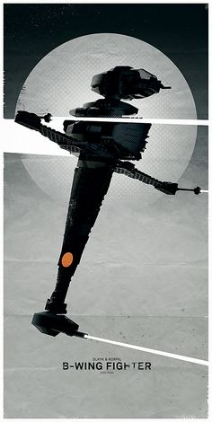 https://flic.kr/p/qxDCSG | B-Wing Fighter | The B-wing fighter is the oddest design ever. And one of the most audacious. A little over a year ago I made some Star Wars spaceship posters (album here), some with Lego, some with scale models. I added two more Lego posters to the series. I will have to see if we have more of these models as I think they make swell subjects for things like this.