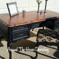 Executive desk redo. Finished and sold! #athdecor #2kraftychix