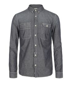 Petroleum Shirt>>  100% cotton, yarn dye chambray long sleeve shirt. The Petroleum Shirt has work wear inspired details with internal pocket, placket tab detail and triple needle stitching. This style has a specialist launder for a vintage finish and soft hand feel.