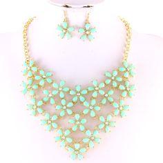 Acrylic Flower Bib Necklace/Earrings Set