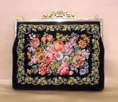 Embroidered floral clutch- Victorian style