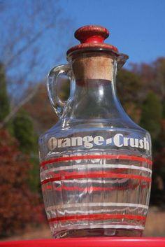 Orange Crush Soda Fountain Syrup Bottle Pitcher Antique Vintage