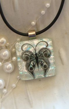 Free Necklace Butterfly Dichroic Pendant by myfusedglass on Etsy, $22.00