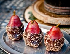 Super Simple Pears with Cacao Ganache and Cinnamon