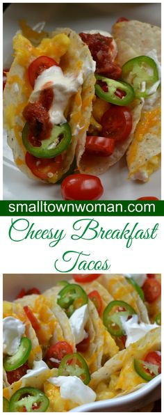 Precooking the taco shells helps keep them crunchy for the scrambled eggs, sausage and cheese.  Topped with thin slices of jalapeno, tomato, sour cream and salsa.