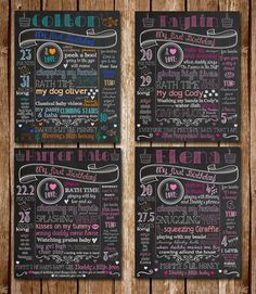 Customized Chalkboard Signs for a children's birthday parties! Custom Chalkboard posters