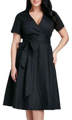 Black Surplice Midi Dress