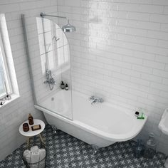 Appleby 1700 Roll Top Shower Bath with Screen + Chrome Leg Set A clawfoot tub like this would be a great option to get something deeper in a small space Shower Over Bath, Shower Bath, Victorian Bathroom, Elegant Bathroom, Modern Bathroom, Bathroom Renovations, Bathroom Design Small, Bathroom Shower, Bathroom Design