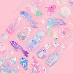Sea Bottles & Underwater Animals Drop Seal Stickers Underwater Animals, Kawaii Gifts, Cute School Supplies, Sticker Bomb, Kawaii Stationery, Kawaii Shop, Welcome Gifts, Cute Purses, Gifts For Girls