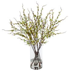 Found it at Wayfair - Peach Blossom Branches in Glass Cylinder Vase