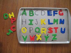 Magnetic alphabet trays make learning on the go a breeze. | 31 Clever And Inexpensive Ideas For Teaching Your Child At Home