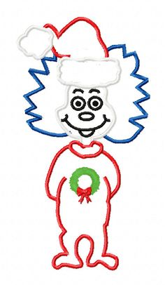 Thing 1 Cat In The Hat Christmas Applique by EmbroideringQueen, $2.49