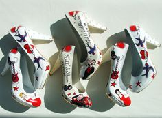https://www.etsy.com/shop/KUKLAfashiondesign  rockabilly themed handpainted bridemaids shoes and customized bridal shoes