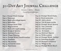 of art journaling starts tomorrow! ✍🏾 I think this June challenge was originally created by I created my own list of prompts and hope to give myself minutes a day. Art Journal Challenge, 30 Day Drawing Challenge, Art Journal Prompts, Art Journal Pages, Art Journaling, Sketchbook Prompts, June Challenge, Junk Journal, Writing Prompts