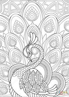Zentangle de Pavo Real con Adornos | Super Coloring
