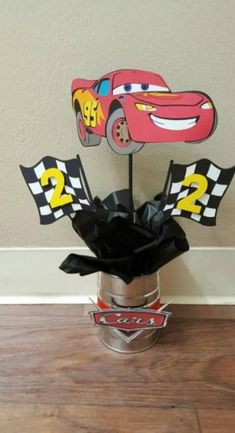 Disney Cars Birthday Party Ideas Centerpieces 26 Ideas Disney Cars Birthday Party Ideas CenterpieceYou can find Disney cars and more o. Pixar Cars Birthday, Race Car Birthday, Race Car Party, Disney Birthday, 3rd Birthday, Birthday Board, Car Themed Parties, Cars Birthday Parties, Birthday Party Decorations
