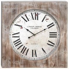 """Wesley Wall Clock - 27""""Hx27""""Wx3""""D, Distressed Natural"""