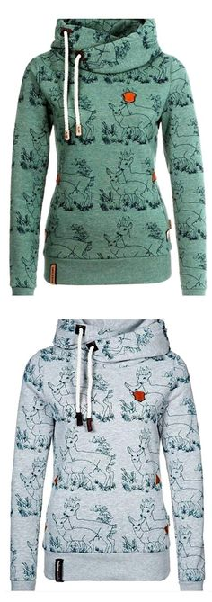Perfect inclined fashion to get with One week delivery Now! This deer print hoodie gonna print your life with love! Try it at Cupshe.com .