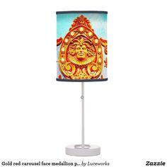 Vintage retro carousel sparkly gold face photo table lamp