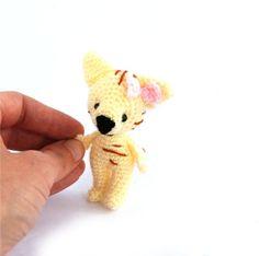 $31.56 crochet cat, little amigurumi cat, miniature pet animal, stuffed cat, girl #cat doll, soft art, cute #little animal doll cream pale #pastel cat