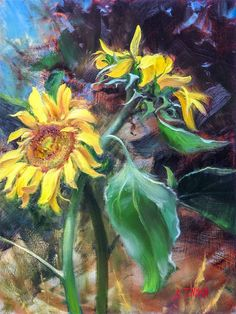 Sunflowers. There's not a more dynamic and invigorating subject to paint. Petals that bend and twist as they circle round and contrast against a lively center of colorful seeds. They seem alive and playful like a child's disheveled hair. Their tall stalks reach high with broad... Let's paint one together!