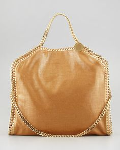 Metallic Fold-Over Falabella Shoulder Bag, Gold by Stella McCartney at Neiman Marcus.