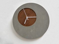 Concrete circle wall clock with wooden hole – modern wall clock – Clock Ideas Concrete Cement, Concrete Furniture, Concrete Crafts, Concrete Design, Clocks Inspiration, Interior Inspiration, Beton Design, Cool Clocks, Diy Clock
