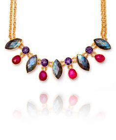 This Gemstone & Gold Greek Goddess Bib Necklace is perfect! #zulilyfinds