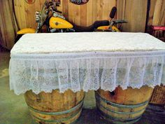 Rustic wine barrel cake table topped with burlap, lace and finished with a lace ruffle. Burlap Lace, Lace Ruffle, Wedding Props, Wedding Decorations, Sherwood Oregon, Rustic Wedding, Our Wedding, Barrel Cake, Lace Table