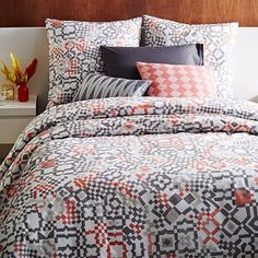 Organic Modern Mosaic Duvet Cover + Shams #westelm - 2bed - with Dondra wood bed