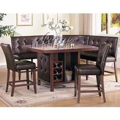 5 Pc Honey Oak Wood Finish Tile Top Counter Height Table Set with