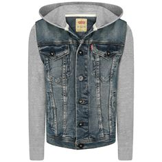 Levis Boys Blue Denim Jacket With Grey Jersey Sleeves