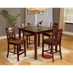 5 piece Lakeside Counter Height Table Set by Alpine Furniture