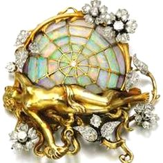 Gorgeous Henri Auguste Solie Art Nouvea brooch in 18kt yellow gold, inlaid opals and diamonds in floral motif, c. 1900.