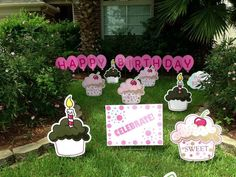 """A """"sweet"""" yard full of cupcakes & birthday signs! Outdoor Birthday Decorations, Happy Birthday Signs, Birthday Cupcakes, Flamingo, Sweet, Party Ideas, Yard, Anniversary Cupcakes, Flamingo Bird"""