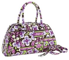 vera bradley. covertible satchel in plum petals. $46.50. it should fit most of my spindles in general