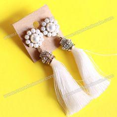 Wholesale Pair of Chic Faux Pearl Flower Embellished Long Tassels Earrings For Women (WHITE), Earrings - Rosewholesale.com