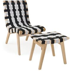 Mod Made Mid Century Black And White Chair And Ottoman  | eBay