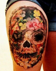 Colorful tattoo of a skull