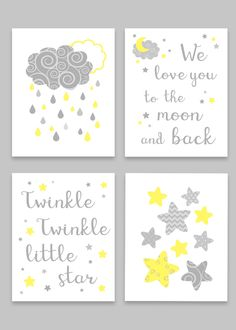 Grey and Yellow Nursery Art, Moon and Stars, Gender Neutral Baby Decor, Twinkle Twinkle Little Star, We Love You To The Moon And Back - Baby Room