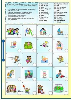 A collection of English ESL Free time, leisure activities, Beginner worksheets for home learning, online practice, distance learning and English cla. Free Activities For Kids, Time Activities, Educational Activities, Outdoor Activities, Vocabulary Worksheets, Preschool Worksheets, English Vocabulary, Snap Words, Free Time