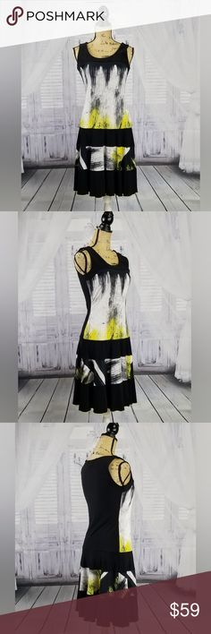 "Frank lyman designs black and yellow A line dress This dress is in EUC  96% rayon 4% elastane  Measurements are approximate based on a flat laying position waist straight across 13.5"" armpit to armpit 16"" length 37"" FRANK LYMAN DESIGNS Dresses Midi"